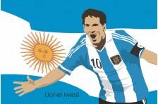 Баннер, плакат. Сборная Аргентины по футболу. Футболист Лионель Месси. Вариант-01