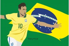 Баннер, плакат. Сборная Бразилии по футболу. Футболист Неймар