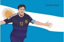 Баннер, плакат. Сборная Аргентины по футболу. Футболист Лионель Месси. Вариант-02