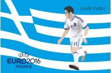 Баннер, плакат. Сборная Греции по футболу. Футболист Лукас Винтра