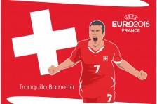 Баннер, плакат. Сборная Швейцарии по футболу. Футболист Транквилло Барнетта