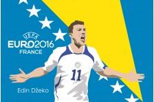 Баннер, плакат. Сборная Боснии и Герцеговины по футболу. Футболист Эдин Джеко