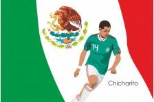 Баннер, плакат. Сборная Мексики по футболу. Футболист Чичарито