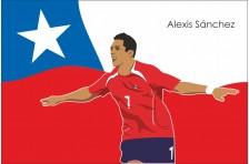 Баннер, плакат. Сборная Чили по футболу. Футболист Алексис Санчес