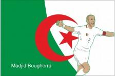 Баннер, плакат. Сборная Алжира по футболу. Футболист Маджид Бугерра