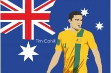 Баннер, плакат. Сборная Австралии по футболу. Футболист Тим Кэхилл