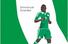 Баннер, плакат. Сборная Нигерии по футболу. Футболист Эммануэль Эменике