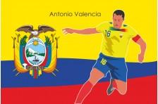 Баннер, плакат. Сборная Эквадора по футболу. Футболист Антонио Валенсия