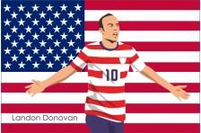 Баннер, плакат. Сборная США по футболу. Футболист Лэндон Донован