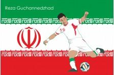 Баннер, плакат. Сборная Ирана по футболу. Футболист Реза Гучаннеджад