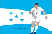 Баннер, плакат. Сборная Гондураса по футболу. Футболист Эмилио Исагирре