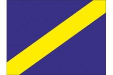 Флаг гоночный - СИНИЙ С ЖЕЛТОЙ ДИАГОНАЛЬНОЙ ПОЛОСОЙ «Требование пропустить»