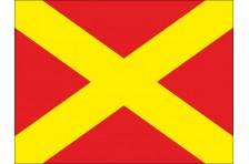 Флаг гоночный - КРАСНЫЙ С ЖЕЛТЫМ КРЕСТОМ «Пит-стоп закрыт»