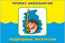 Флаг указатель «ПРОКАТ АКВАЛАНГОВ, ПОДВОДНЫЕ ЭКСКУРСИИ». Вариант-2